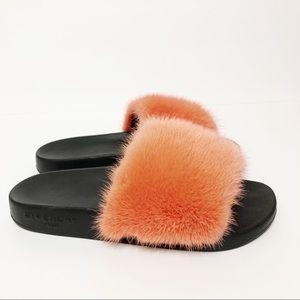 Givenchy Mink Fur Flat Slides In Coral